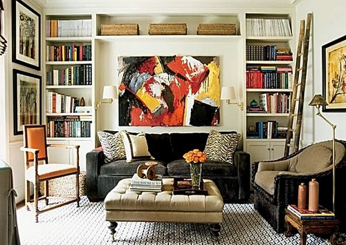 home-library-art-sofa-paintings-prints-colorful-vibtant-decorating